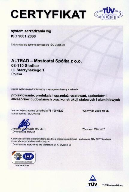 Certificate ISO PL